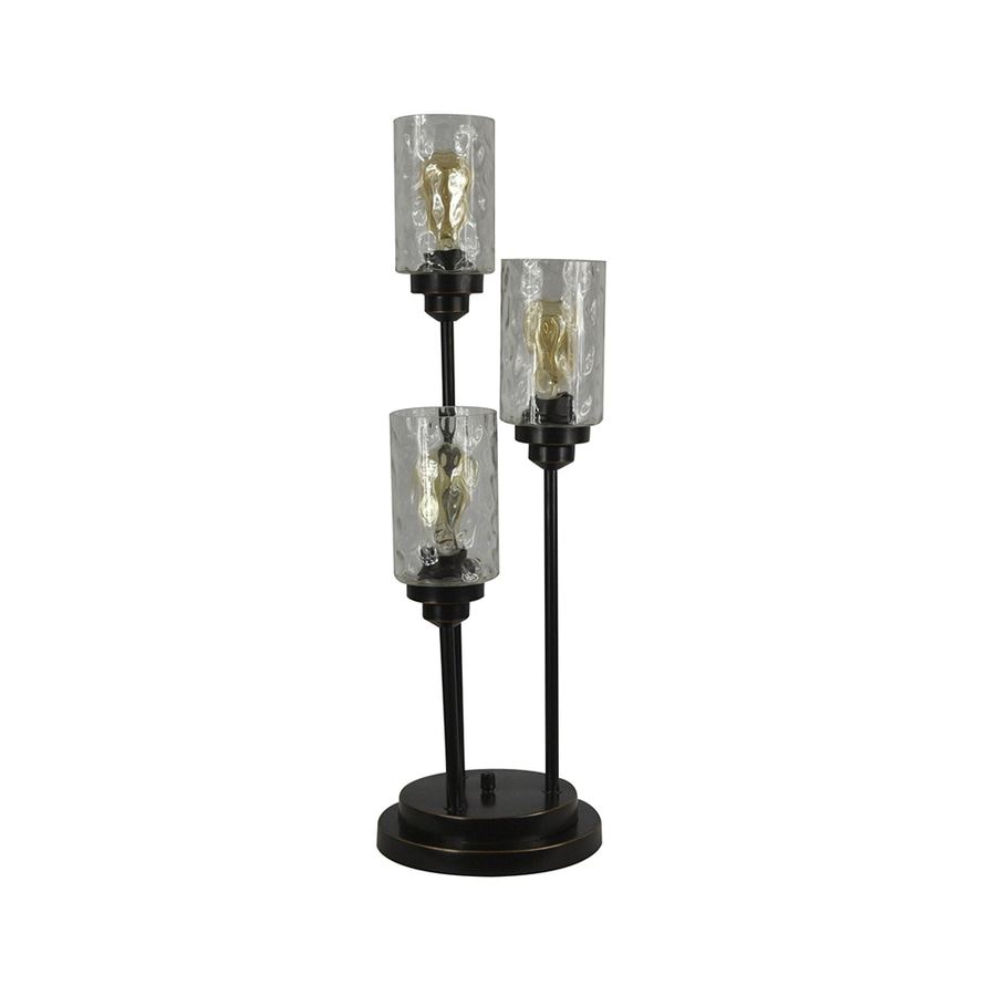 allen + roth Latchbury 30.5-in Bronze Electrical Outlet On/Off Switch Table Lamp with Glass Shade