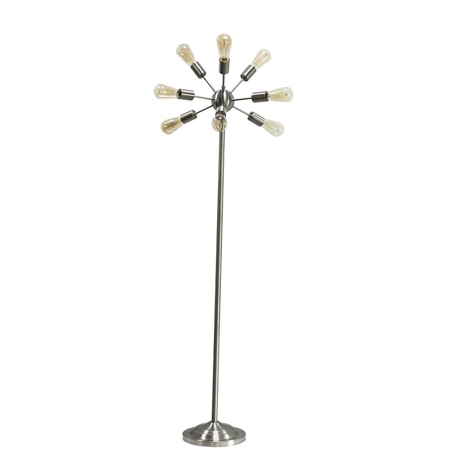 Style Selections Grayford 64.5-in Brushed Nickel Foot Switch Stick Floor Lamp