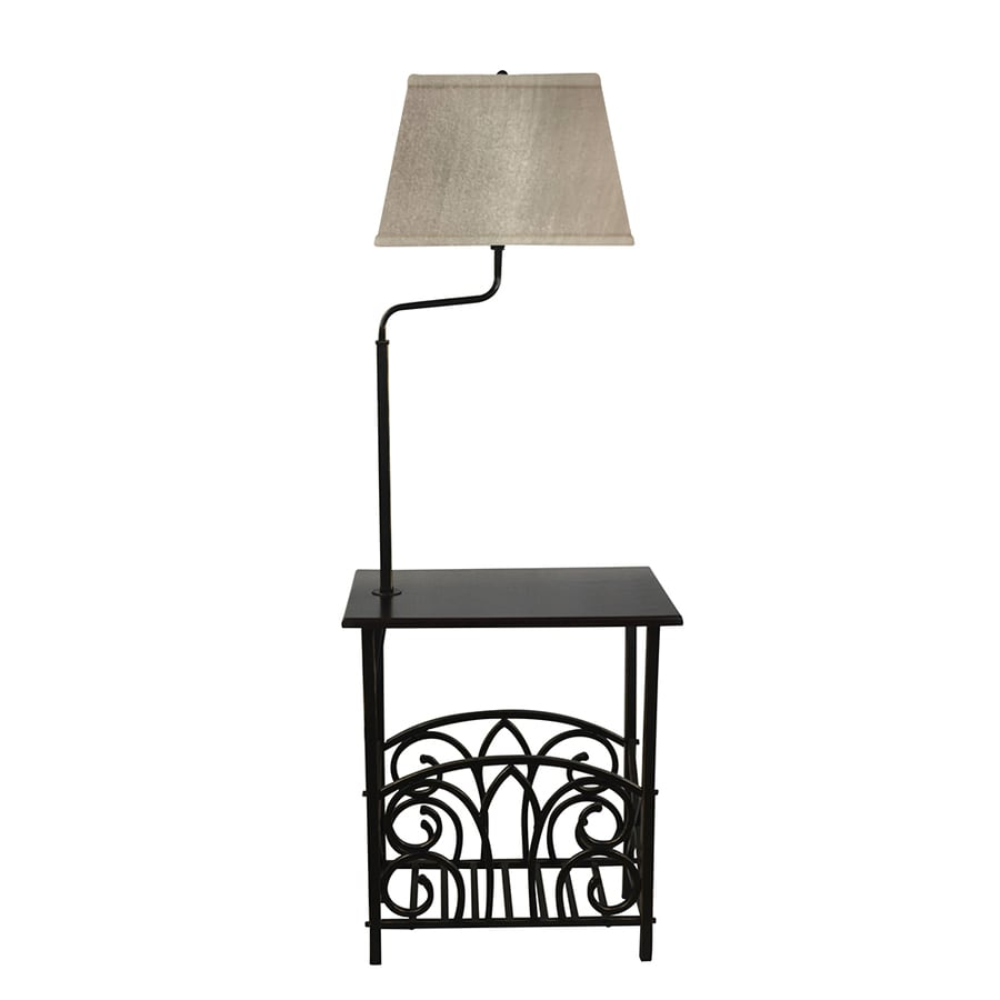 Portfolio 54.0-in Bronze Electrical Outlet On/Off Switch Shelf Built-in Table Floor Lamp with Fabric Shade