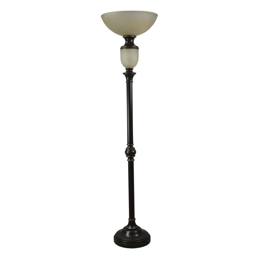 Portfolio 74 In Oil Rubbed Bronze 4 Way Torchiere Floor Lamp With Glass  Shade