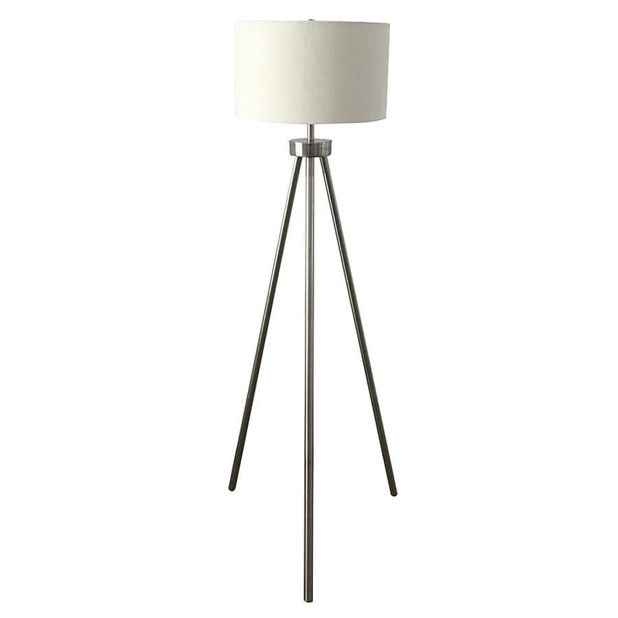 Allen Roth 60 In Satin Nickel Tripod Floor Lamp With