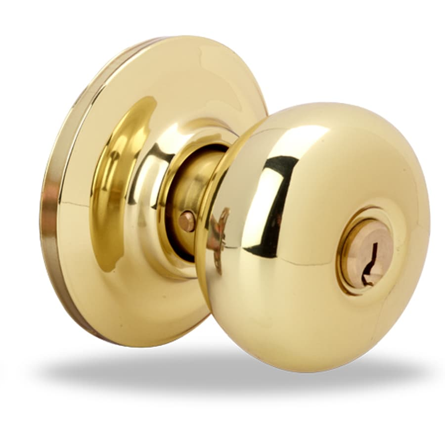 Yale Security YH Cambridge Polished Brass Keyed Entry Door Knob and Single-Cylinder Deadbolt Project Pack