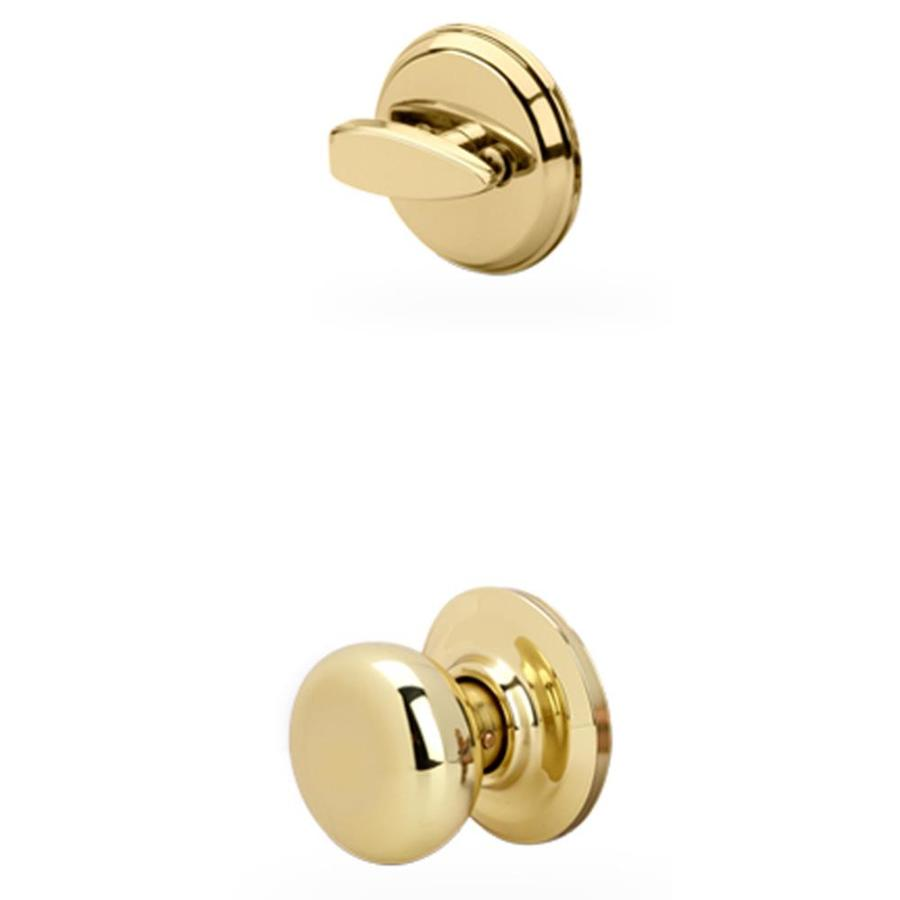 Yale Security Cambridge 1-3/4-in Polished Brass Single Cylinder Knob Entry Door Interior Handle