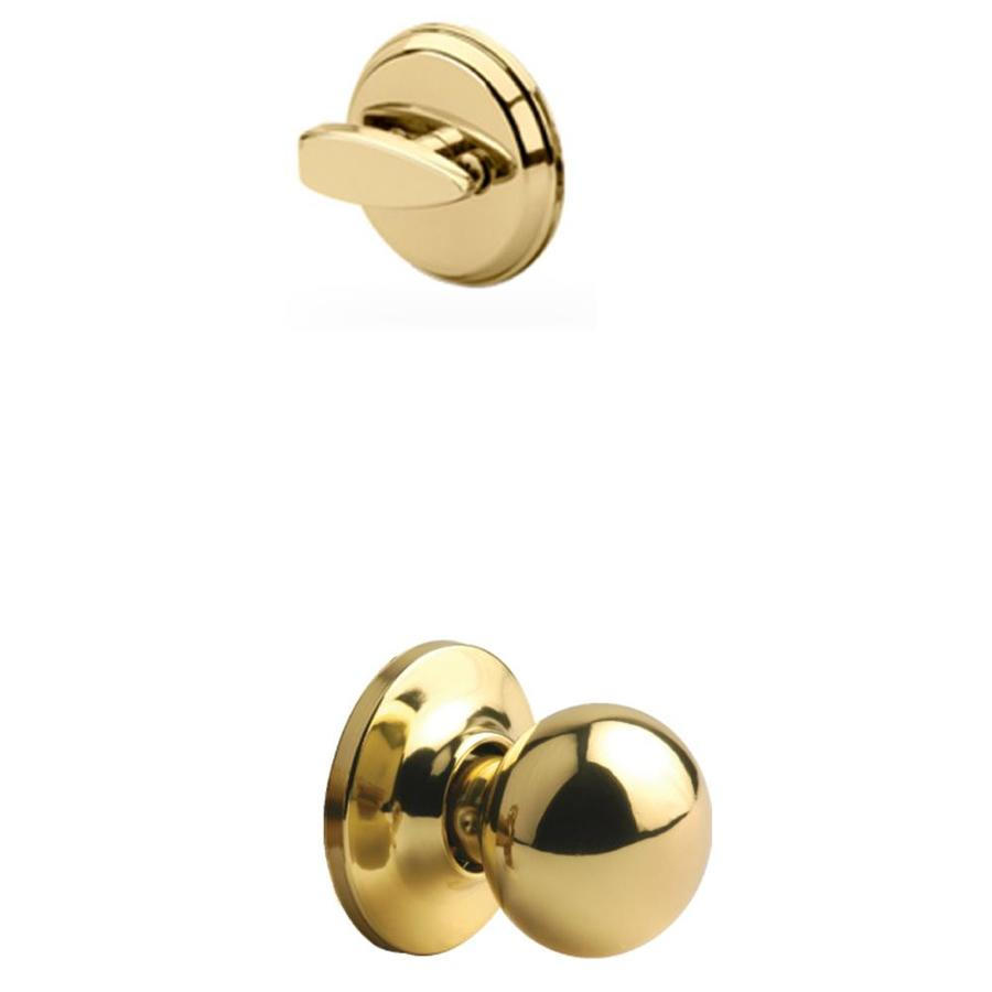 Yale Security Cirrus 1-3/4-in Polished Brass Single Cylinder Knob Entry Door Interior Handle