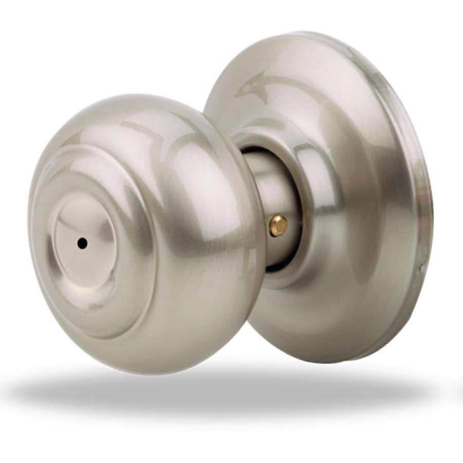 Yale Security YH Oxford Satin Nickel Round Push Button-Lock Privacy Door Knob