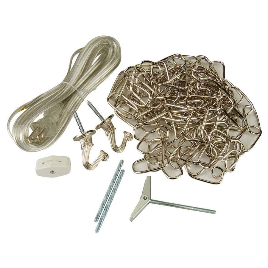 Portfolio 2-Hook Nickel Metal Swag Light Kit with Chain and Cord