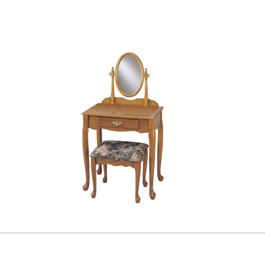 Powell Oak Makeup Vanity