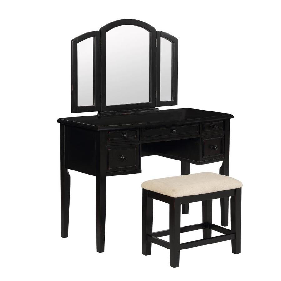 shop powell black makeup vanity at. Black Bedroom Furniture Sets. Home Design Ideas