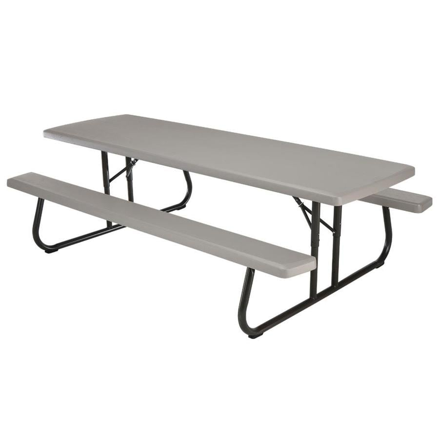 LIFETIME PRODUCTS 8-ft Gray Resin Rectangle Picnic Table