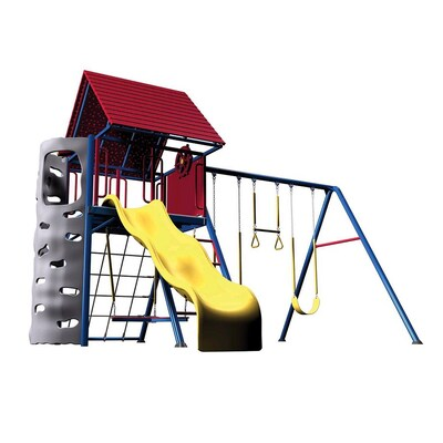 A Frame Metal Playset With Swings