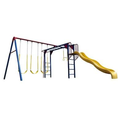 Monkey Bar Adventure Metal Playset With Swings