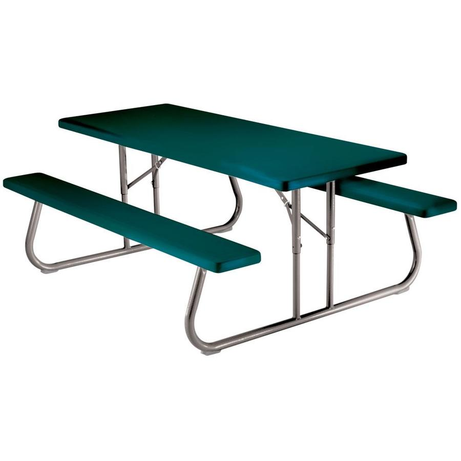 High Quality LIFETIME PRODUCTS 72 In Green Plastic Rectangle Folding Picnic Table