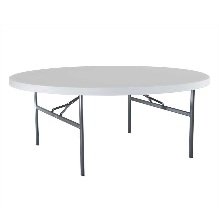 LIFETIME PRODUCTS 72-in x 72-in Circle Steel White Folding Table
