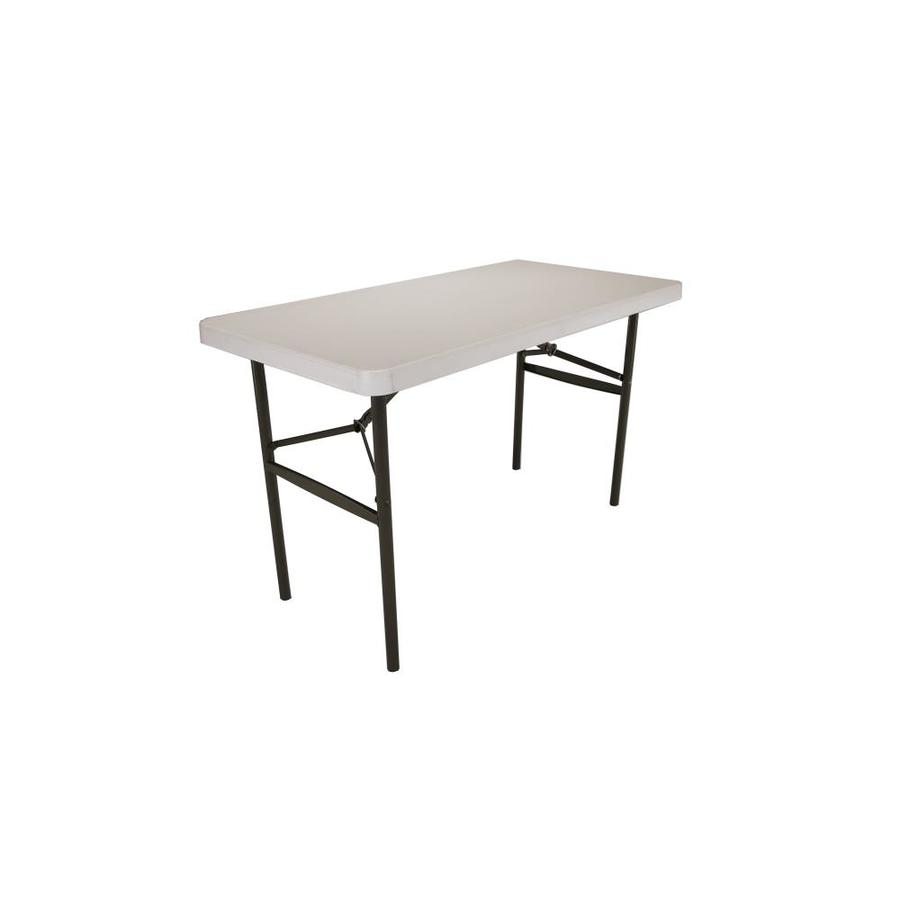 LIFETIME PRODUCTS 48-in x 24-in Rectangle Steel Almond Folding Table
