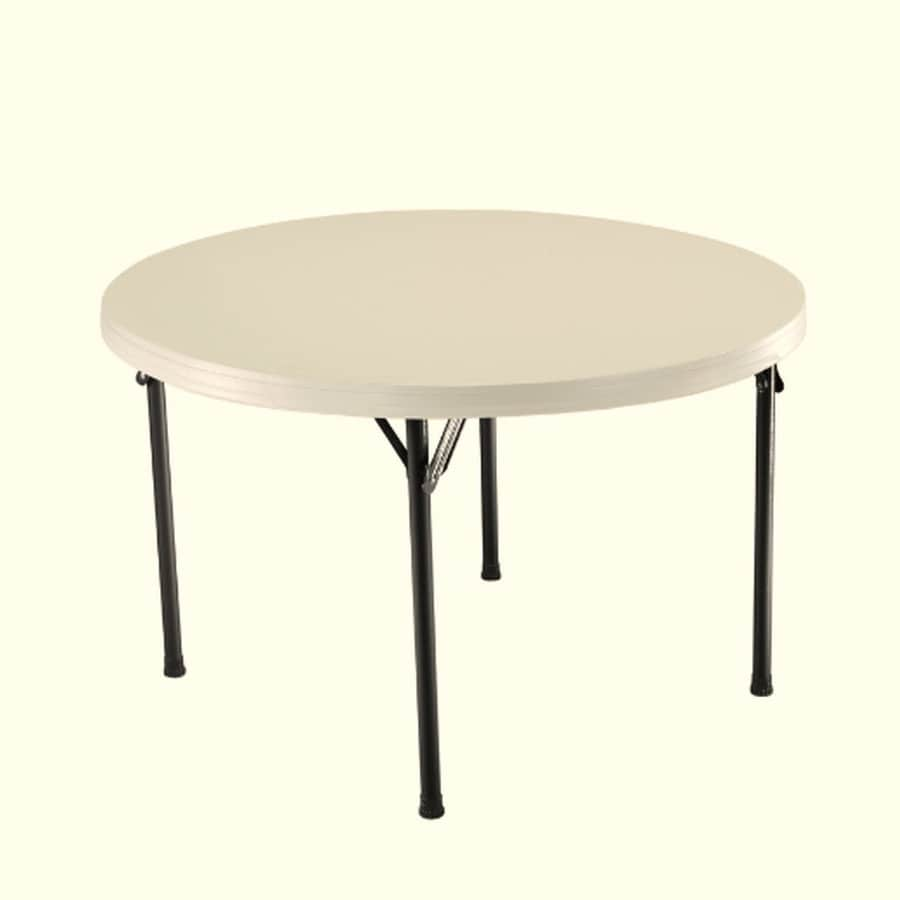 LIFETIME PRODUCTS 46.5-in x 46.5-in Circle Steel Almond Folding Table