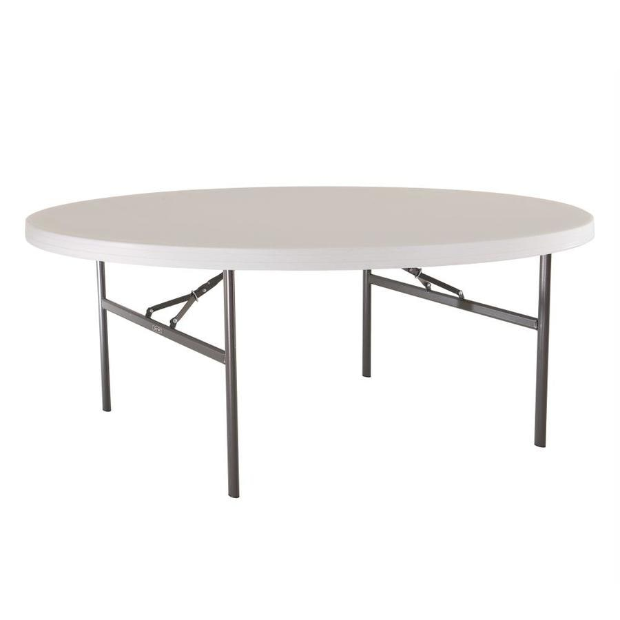 LIFETIME PRODUCTS Set of 4 72-in x 72-in Circle Steel White Folding Tables