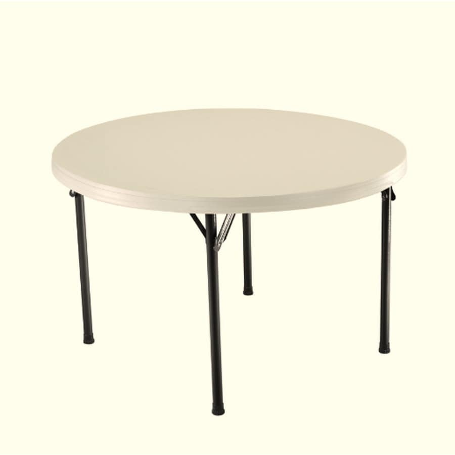 LIFETIME PRODUCTS Set of 4 46.5-in x 46.5-in Circle Steel Almond Folding Tables