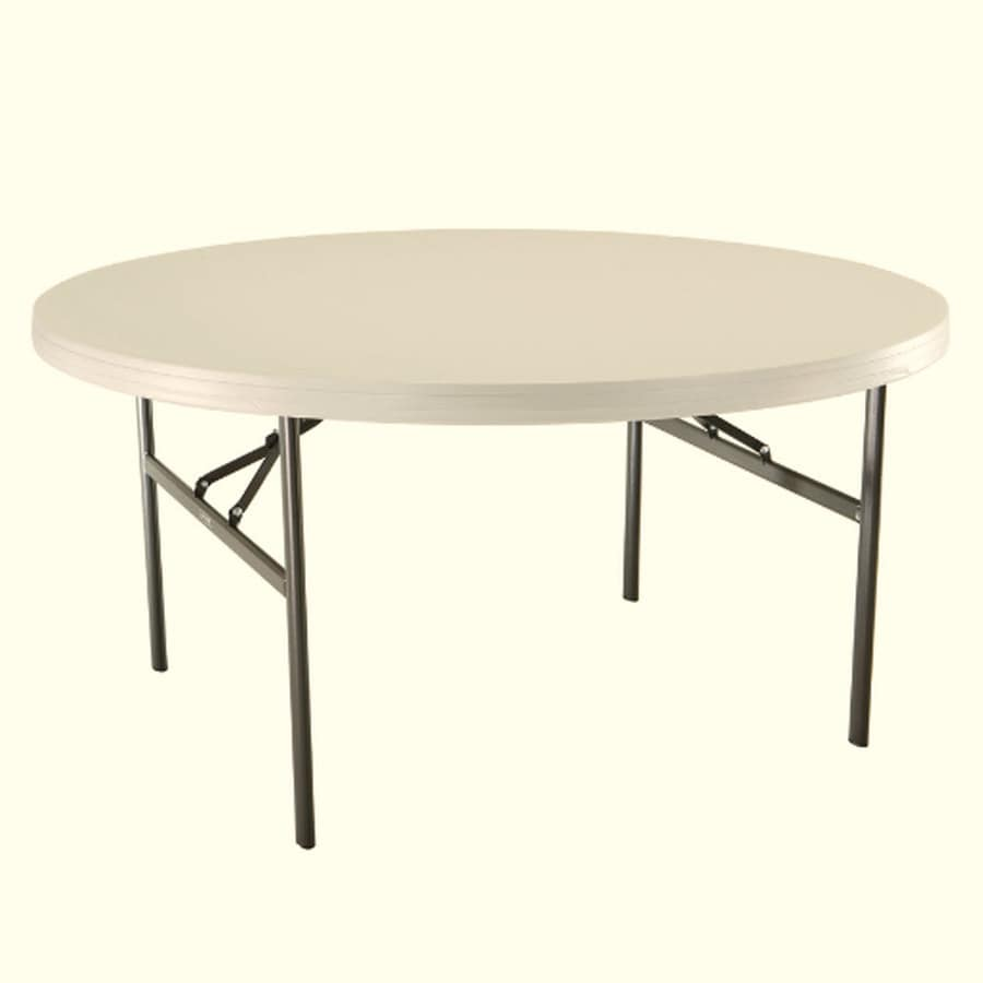 LIFETIME PRODUCTS 60 In X 60 In Circle Steel White Folding Table