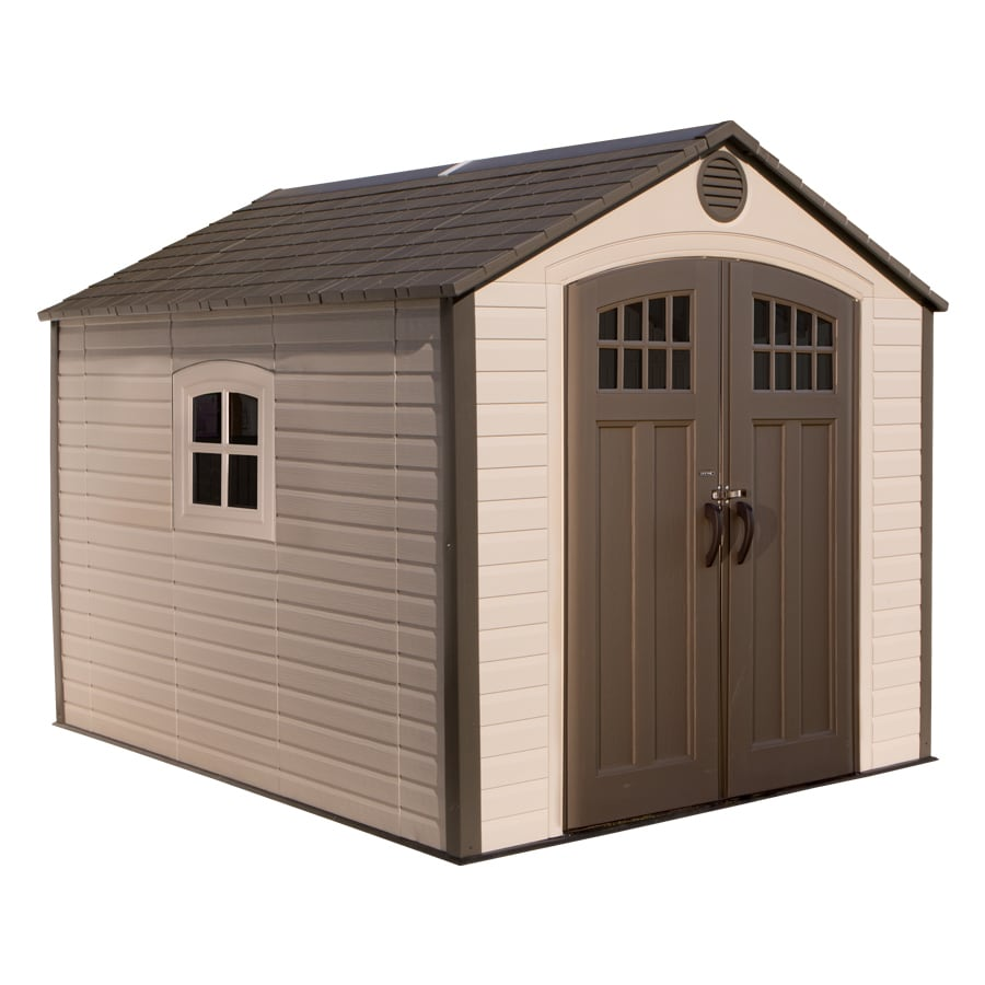 Shop lifetime products gable storage shed common 8 ft x for Vinyl storage sheds