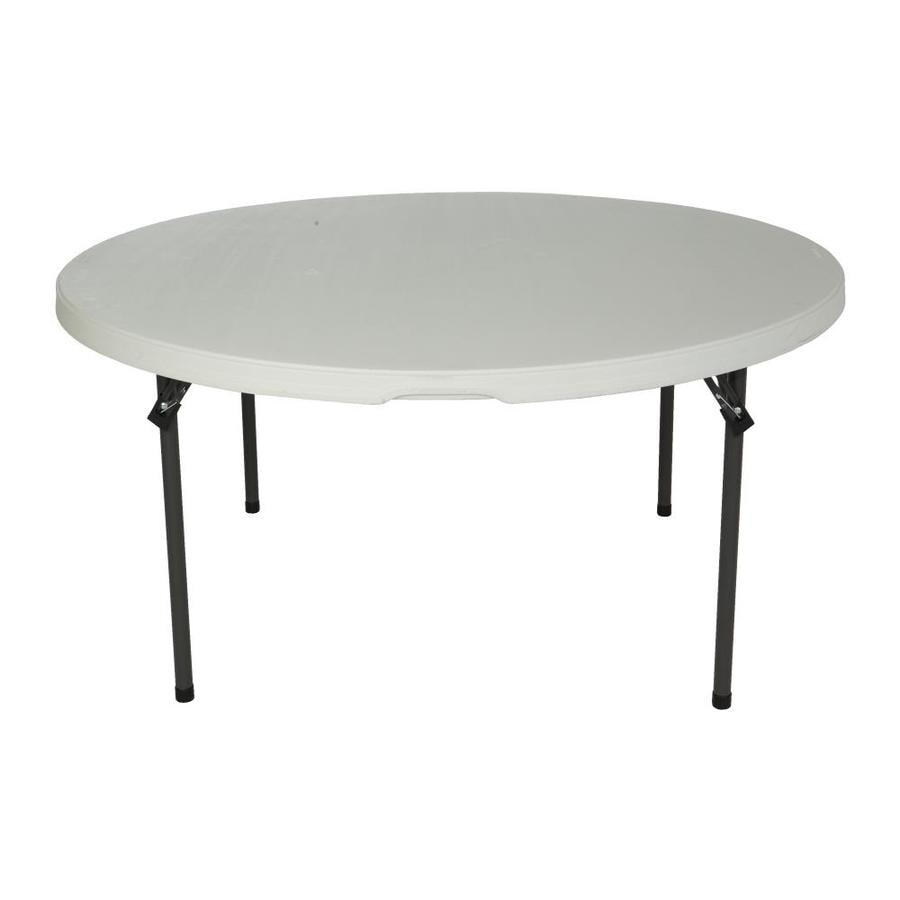 LIFETIME PRODUCTS Set of 4 60-in x 60-in Circle Steel Almond Folding Tables