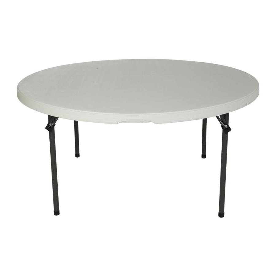LIFETIME PRODUCTS 60-in x 60-in Circle Steel Almond Folding Table