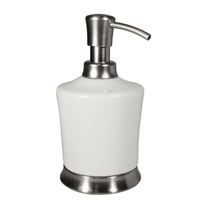 interDesign Carla White/Brushed Stainless Steel Soap and Lotion Dispenser