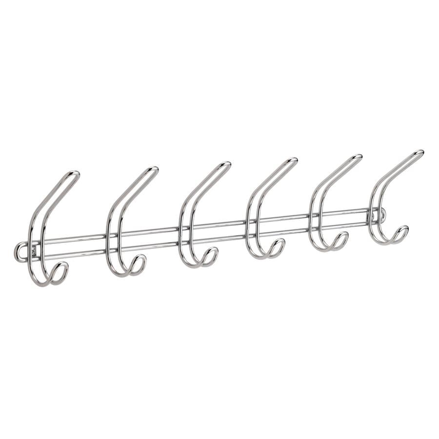 Interdesign Clico Chrome 6 Hook Wall Mount Rack