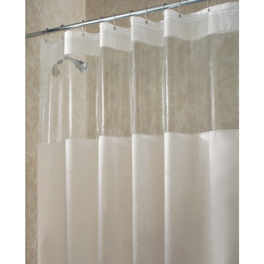 InterDesign Hitchcock Eva Peva Clear Frost Solid Shower Curtain 72 In X