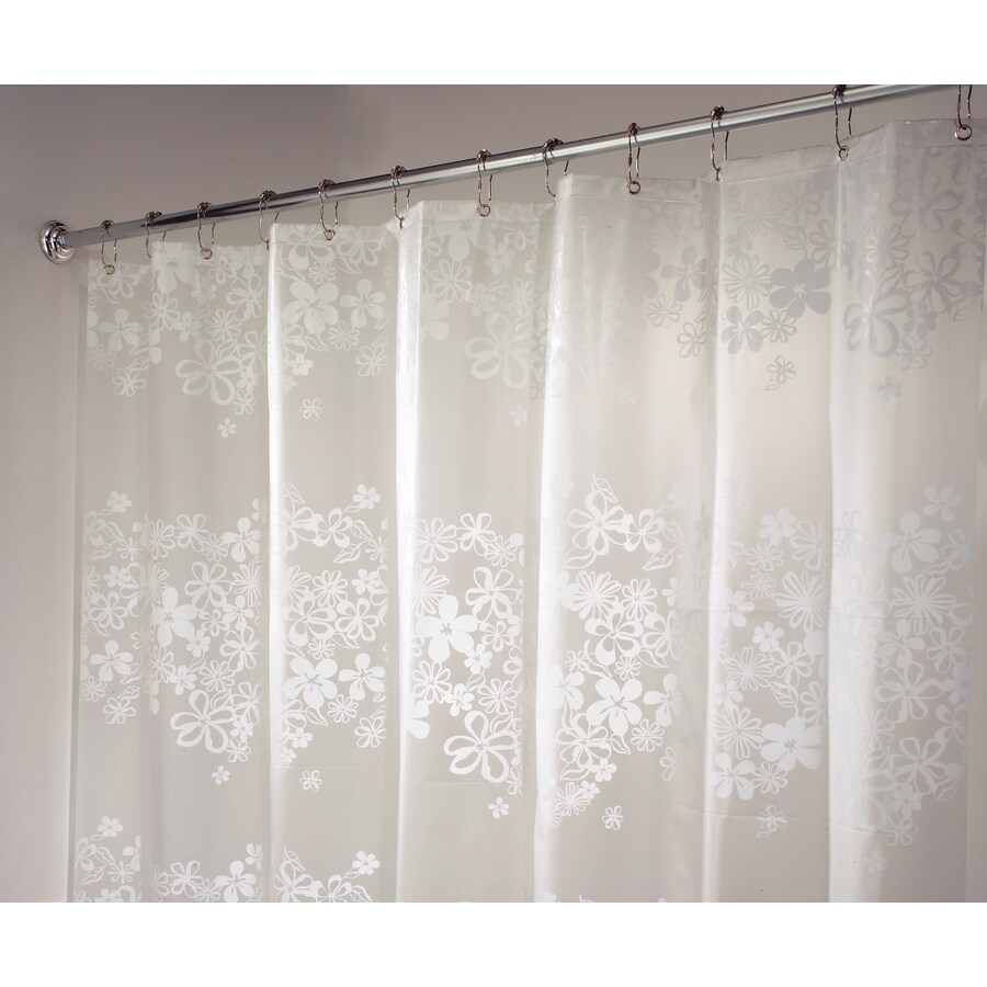 InterDesign Fiore EVA PEVA White With Floral Print Shower Curtain