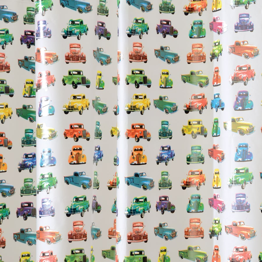 interDesign EVA/PEVA Trucks Patterned Shower Curtain