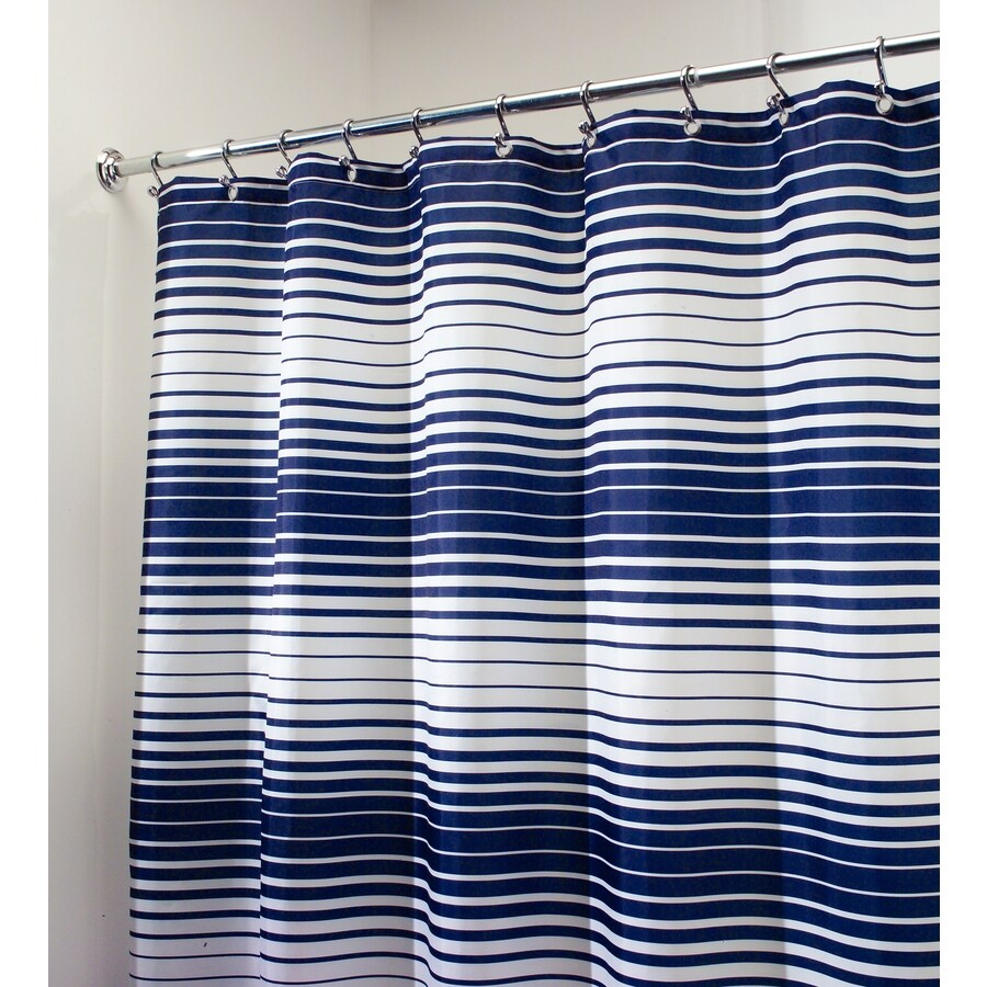 interDesign Enzo Polyester Navy/White with Strips Striped Shower Curtain