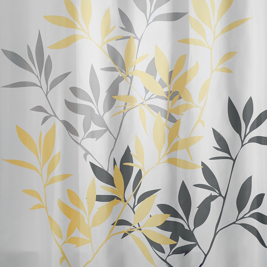 InterDesign Leaves Polyester Yellow Gray Patterneded Shower Curtain 72 In X
