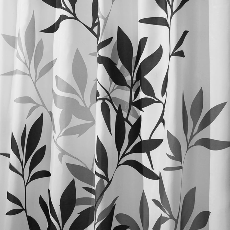 interDesign Leaves Polyester Black Leaves Patterned Shower Curtain