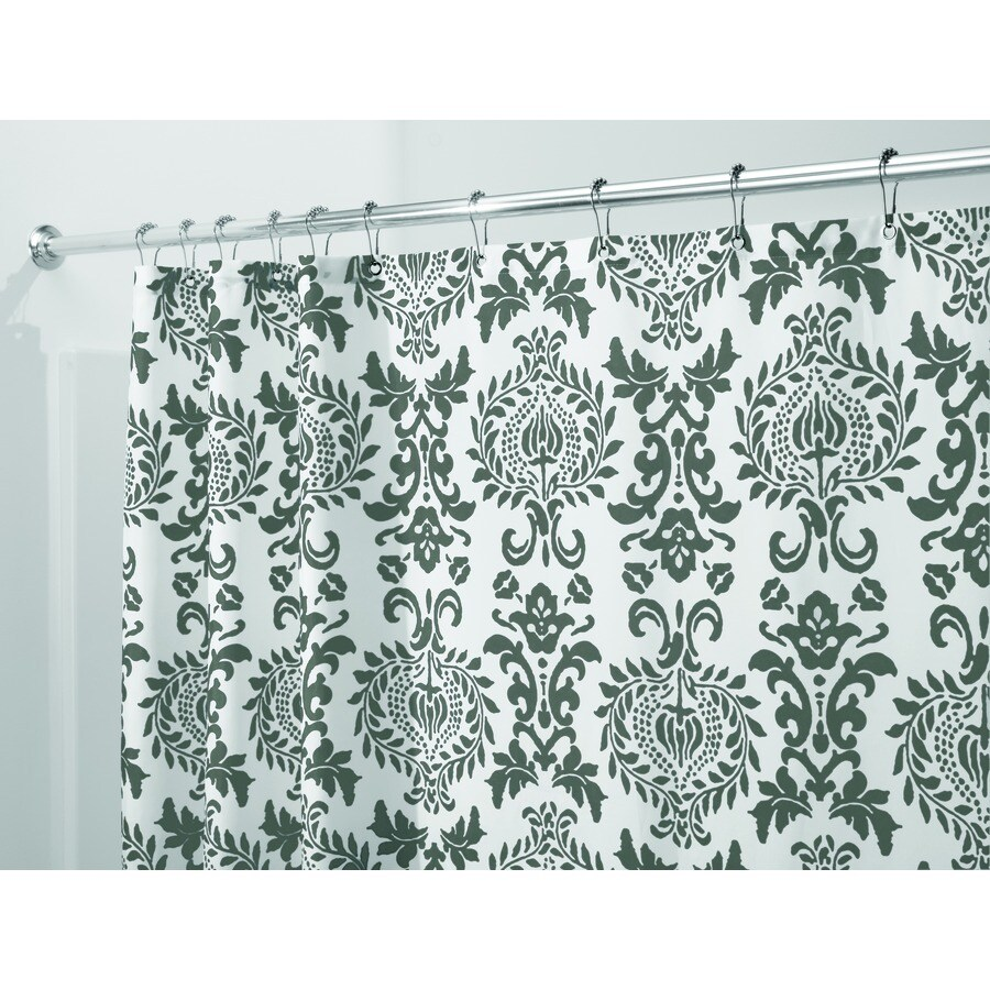 interDesign Damask Polyester Charcoal with A Bold Print Patterned Shower Curtain