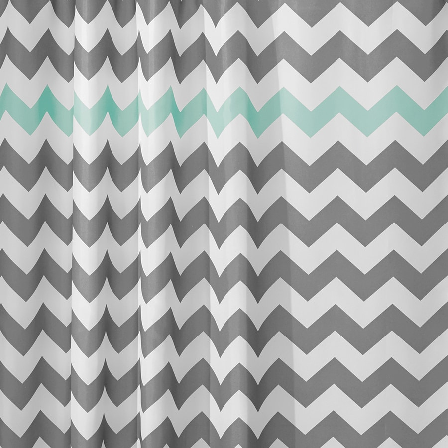 InterDesign Chevron Polyester Gray Aruba Patterneded Shower Curtain 72 In X