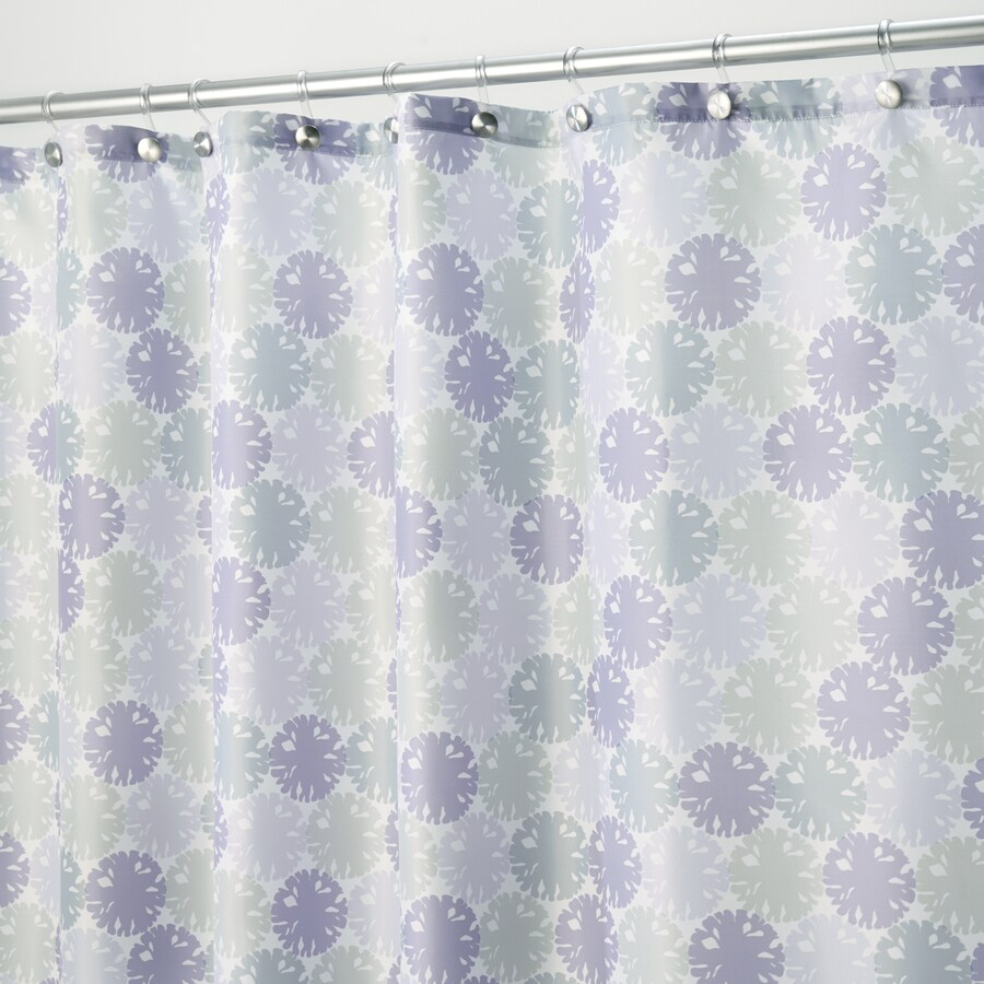 InterDesign Everli Polyester Lavender With A Floral Print Shower Curtain 72 In X