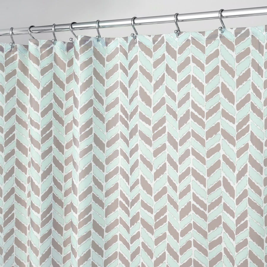 shop interdesign nora polyester taupe mint with a herringbone  - interdesign nora polyester taupe mint with a herringbone pattern patternedshower curtain