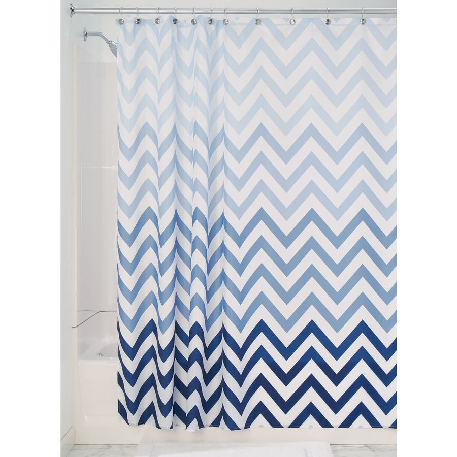 interDesign Ombre Polyester Multi Blues Chevron Patterned Shower Curtain