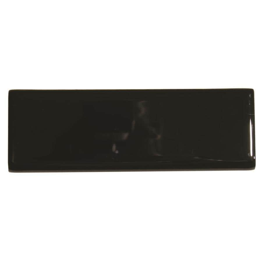 American Olean Bright Black Gloss Ceramic Bullnose Tile (Common: 2-in x 6-in; Actual: 2-in x 6-in)