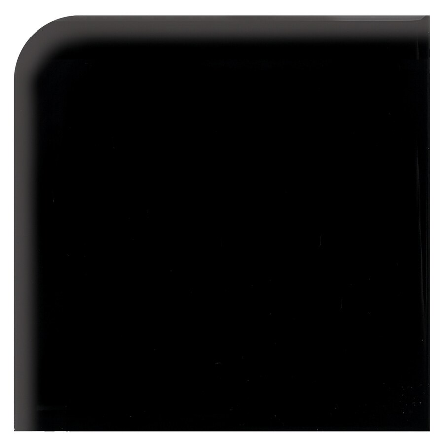 American Olean Bright Gloss Black Ceramic Bullnose Corner Tile (Common: 4-in x 4-in; Actual: 4.25-in x 4.25-in)