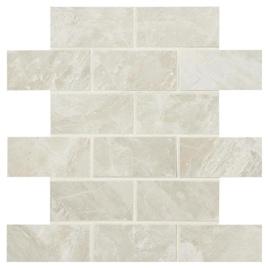 American Olean Mirasol 12-Pack Silver Marble Brick Mosaic Porcelain Floor and Wall Tile (Common: 12-in x 12-in; Actual: 12-in x 12-in)