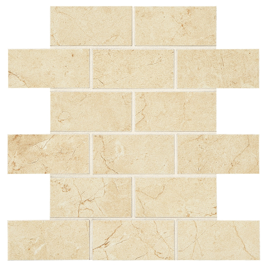 American Olean Mirasol 12-Pack Crema Laila Brick Mosaic Porcelain Floor and Wall Tile (Common: 12-in x 12-in; Actual: 12-in x 12-in)