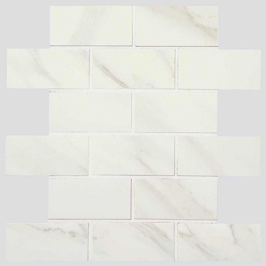 American Olean Mirasol 12-Pack Carrara Brick Mosaic Porcelain Floor and Wall Tile (Common: 12-in x 12-in; Actual: 12-in x 12-in)