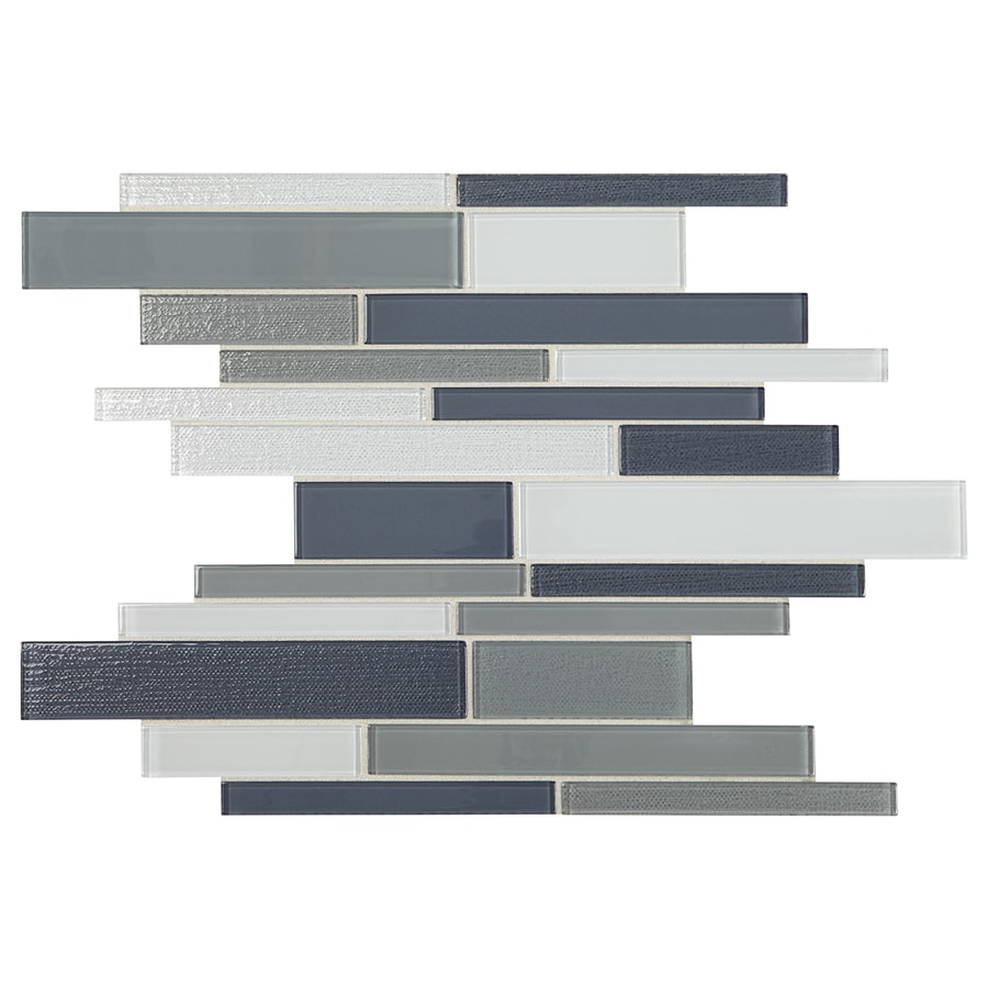 Shop American Olean Delfino Mixed Blue-Gray Linear Mosaic Glass Wall ...