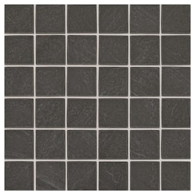 American Olean Carbon Mist Slate 12-in x 12-in Glazed Ceramic Uniform Squares Mosaic Wall Tile