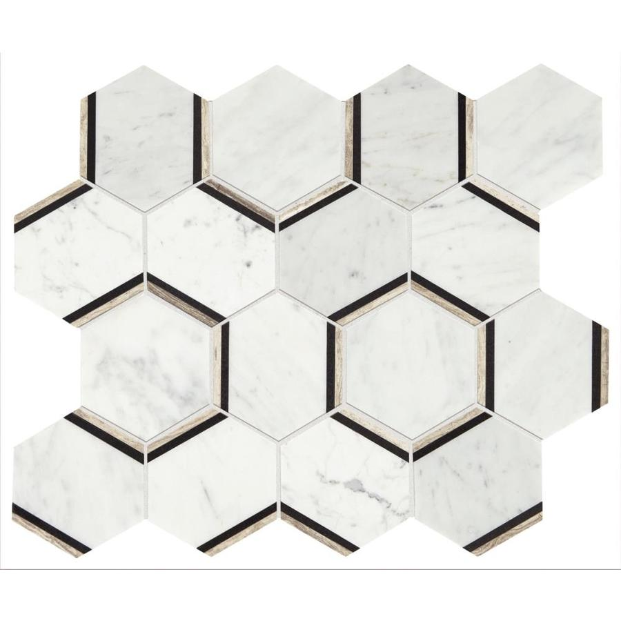 Shop american olean genuine stone carrara honeycomb mosaic marble american olean genuine stone carrara honeycomb mosaic marble floor and wall tile common 12 dailygadgetfo Image collections