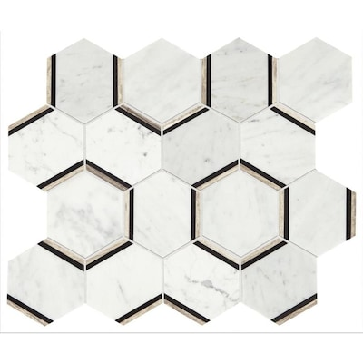 Genuine Stone Carrara 12 In X 15 Honeycomb Marble Mosaic Floor And Wall Tile Common Actual 38 14 75