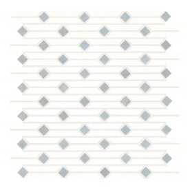 American Olean Delfino Stone White and Blue 12-in x 12-in Linear Marble Mosaic Floor and Wall Tile (Common: 12-in x 12-in; Actual: 12.25-in x 12.5-in)