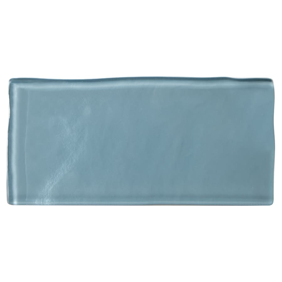 American Olean Handcrafted Blue Glass Wall Tile (Common: 3-in x 6-in; Actual: 5.94-in x 2.94-in)
