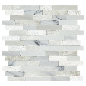 American Olean Genuine Stone Refined White Linear Mosaic Marble Wall Tile (Common: 13-in x 12-in; Actual: 13.13-in x 12-in)